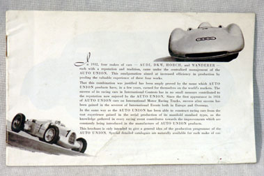 Lot 106-c1932 Auto Union Range Brochure