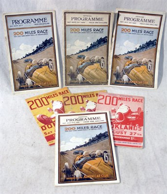 Lot 113-Seven Brooklands/Donington 200 Mile Race Programmes