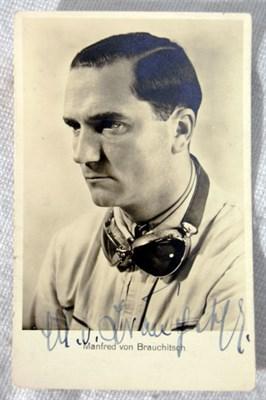 Lot 607-Manfred von Brauchitsch Signed Postcard