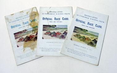 Lot 131-Three Brooklands Race Cards - 1921