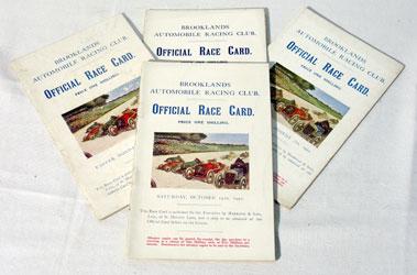 Lot 132-Four Brooklands Race cards - 1922