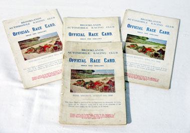 Lot 136-Four Brooklands Race cards - 1928
