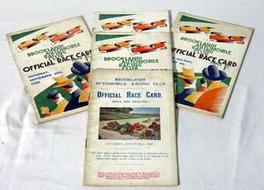 Lot 138-Five Brooklands Race Cards - 1930
