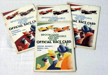 Lot 140-Four Brooklands Race Cards - 1932