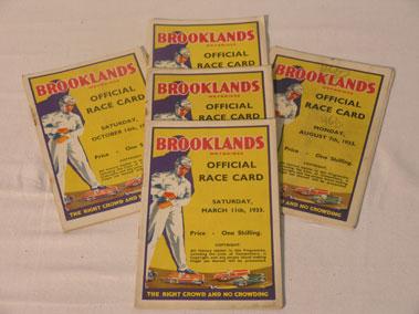 Lot 141-Five Brooklands Race Cards - 1933
