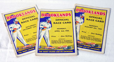 Lot 142-Four Brooklands Race Cards - 1934