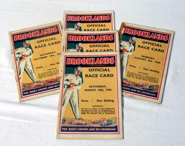 Lot 143-Five Brooklands Race Cards - 1935