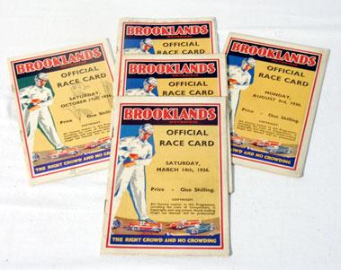 Lot 144-Five Brooklands Race Cards - 1936