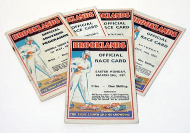 Lot 145-Five Brooklands Race Cards - 1937