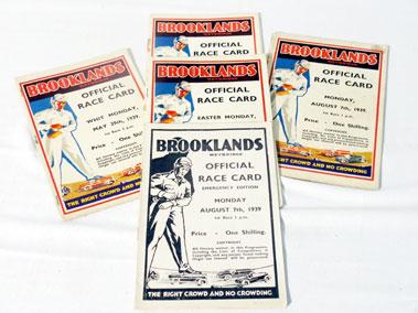 Lot 147-Five Brooklands Race Cards - 1939