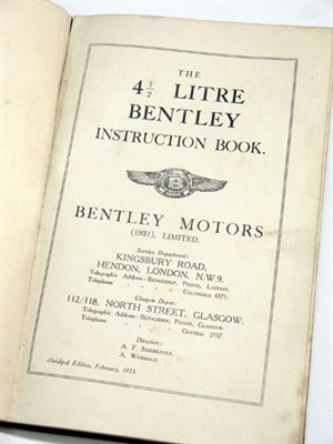 Lot 130-Bentley 4.5 Litre Instruction Book