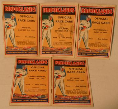 Lot 154-Five Brooklands Race Cards - 1936