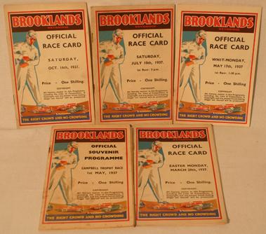 Lot 155-Five Brooklands Race Cards - 1937