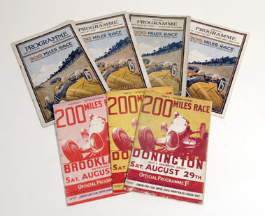 Lot 157-Seven Brooklands/Donington 200 Mile Race Programmes