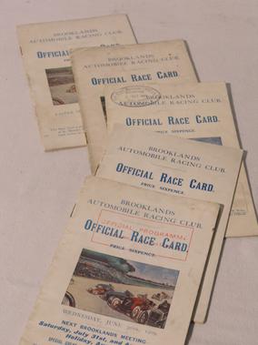 Lot 160-Five Early Brooklands Programmes