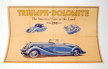 Lot 158-Pre-War Triumph Dolomite Showroom Poster