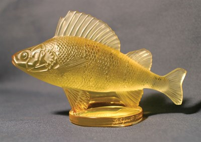 Lot 322-'Perch' Glass Accessory Mascot by R. Lalique (Amber Tinted)