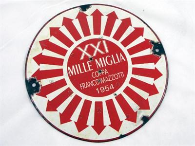 Lot 702 - 1954 Mille Miglia Enamel Control Point