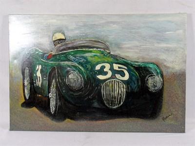 Lot 505 - Stirling Moss / Jaguar C-type Original Artwork