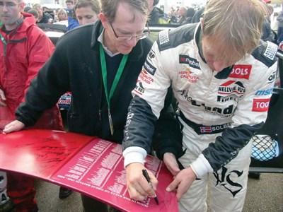Lot 605 - Signed Mini Bonnet - Celebrating the RAC Rally