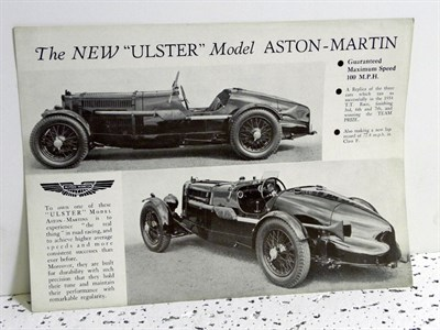 Lot 132-Aston Martin 'New Ulster' Sales Card