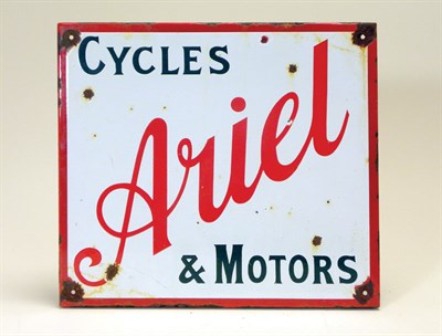 Lot 704-'Ariel' Cycles & Motors Hanging Enamel Sign