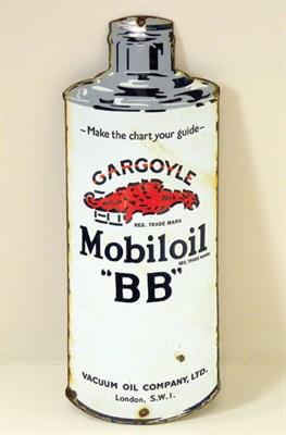 Lot 705-Gargoyle Mobiloil 'BB' Can-Shaped Enamel Sign