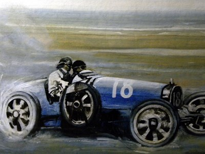 Lot 503-Bugatti T35 Original Artwork by B.D. Taylor