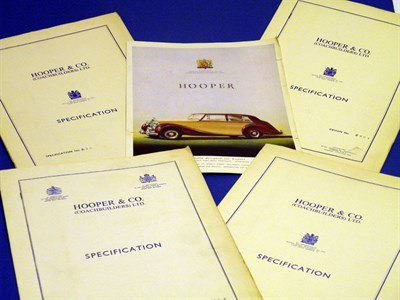 Lot 116 - Five Rolls-Royce / Bentley Specification Folders