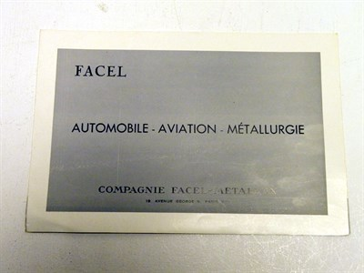 Lot 121 - 'Facel' Sales Catalogue