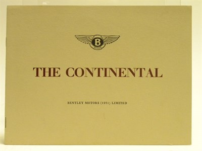 Lot 128 - Bentley R-Type Continental Sales Brochure