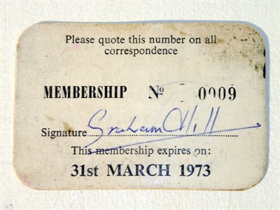 Lot 600-Graham Hill's GPDA Membership Card