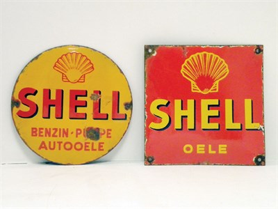 Lot 700-Two Continental Shell Enamel Signs