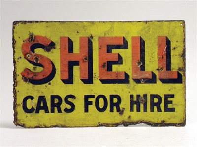 Lot 707-Shell Cars For Hire Enamel Sign