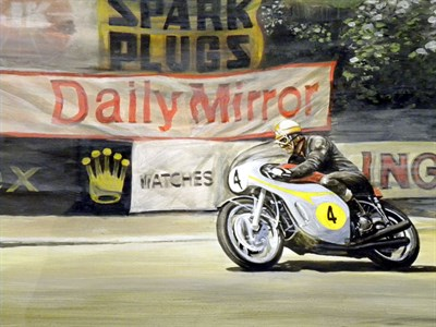 Lot 508-Mike Hailwood/Honda Artwork by B.D. Taylor