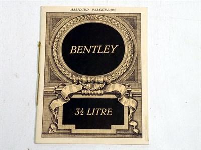 Lot 127 - Bentley 3.5 Ltr Sales Brochure
