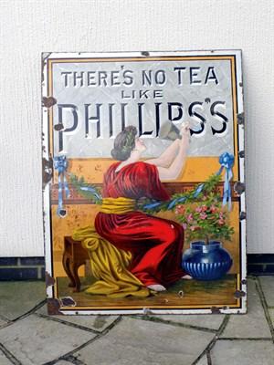 Lot 27-Phillips Tea Pictorial Enamel Sign