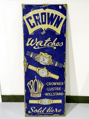 Lot 31-'Crown Watches' Pictorial Enamel Sign