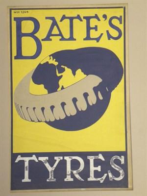 Lot 15-Bate's Tyres Original Poster Artwork (Proof)