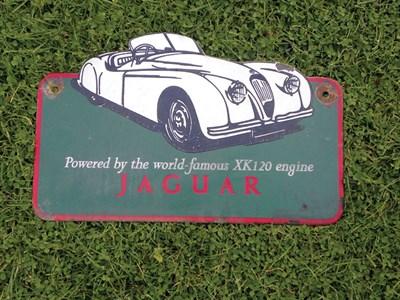 Lot 43-Jaguar XK140 Enamel Advertising Sign