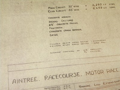 Lot 25-Original Aintree Race Circuit Blueprints