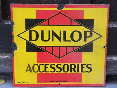 Lot 3 - 'Dunlop Accessories' Enamel Sign