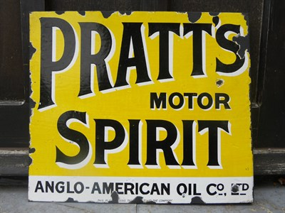 Lot 4 - 'Pratt's Motor Spirit Enamel Sign