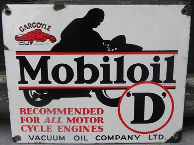 Lot 6 - Mobiloil 'D' Motorcycle Oil Enamel Sign