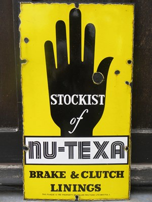 Lot 8 - 'Stockist of Nu-Texa Linings' Enamel Sign