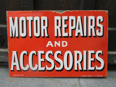 Lot 9 - 'Motor Repairs & Accessories' Enamel Sign