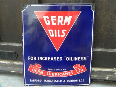 Lot 11 - Germ Oils Enamel Sign