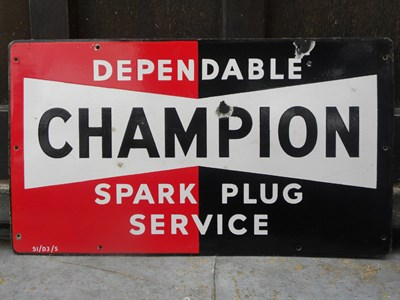 Lot 12 - Two 'Champion Spark Plug Service' Enamel Signs