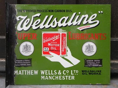 Lot 13 - 'Wellsaline' Motor Oil Enamel Sign