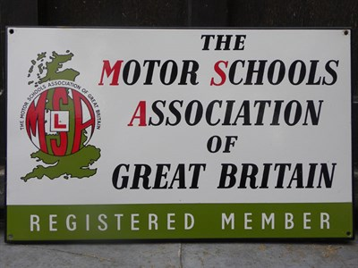 Lot 15 - 'Motor Schools Association' Pictorial Enamel Sign